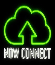 The words 'Connect now' with a green neon symbol